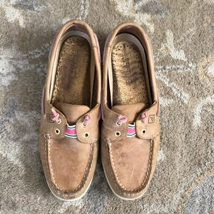Sperry pink/green ribbon boat shoes, size 8.5